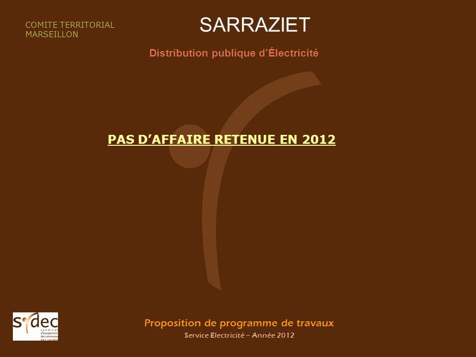 Proposition de programme de travaux Service Electricité – Année 2012 SARRAZIET Distribution publique dÉlectricité COMITE TERRITORIAL MARSEILLON PAS DAFFAIRE RETENUE EN 2012
