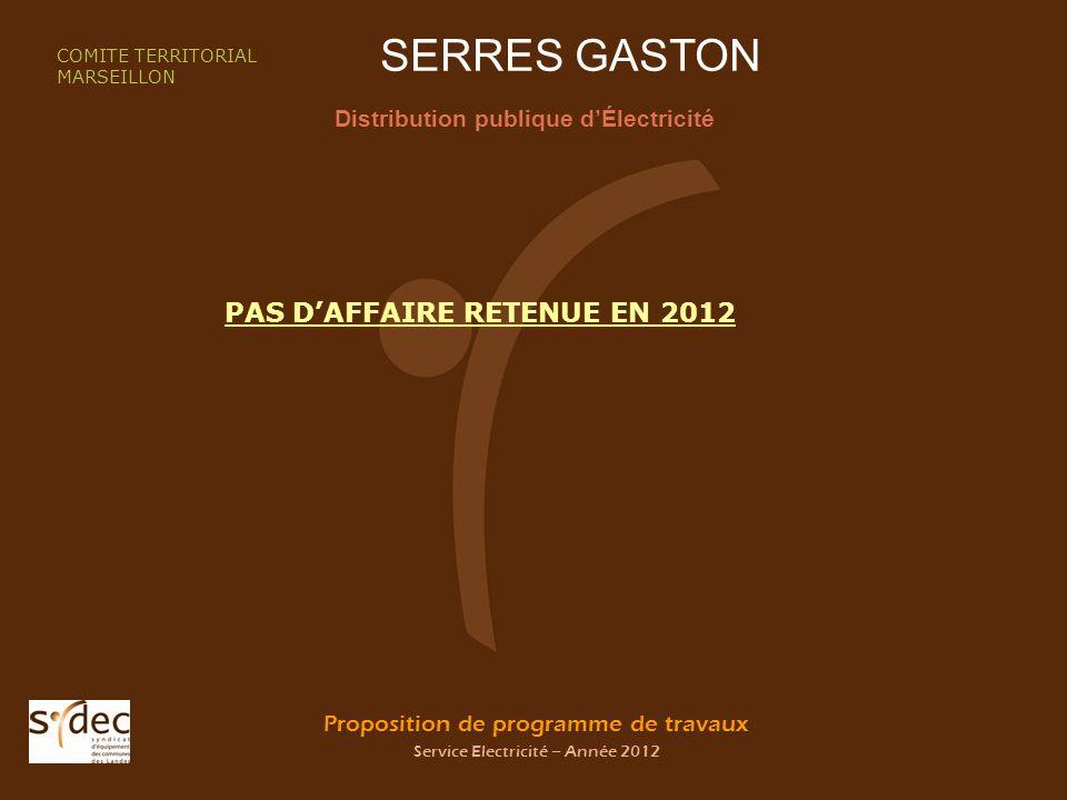 Proposition de programme de travaux Service Electricité – Année 2012 SERRES GASTON Distribution publique dÉlectricité COMITE TERRITORIAL MARSEILLON PAS DAFFAIRE RETENUE EN 2012