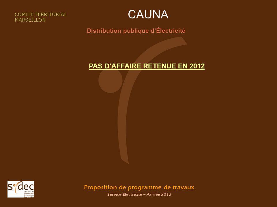 Proposition de programme de travaux Service Electricité – Année 2012 CAUNA Distribution publique dÉlectricité COMITE TERRITORIAL MARSEILLON PAS DAFFAIRE RETENUE EN 2012