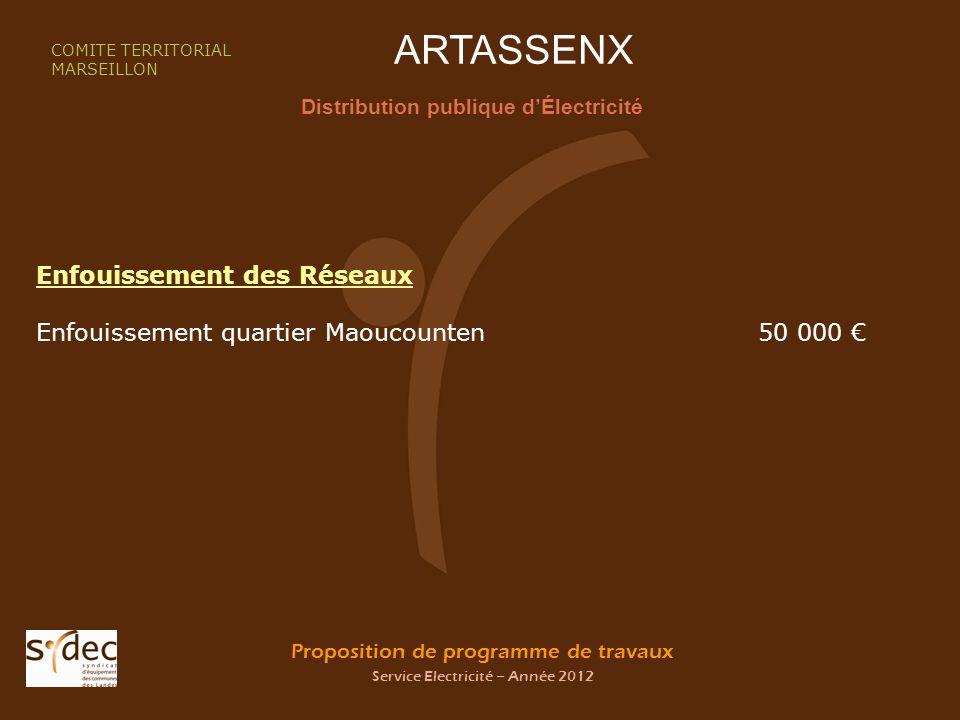 Proposition de programme de travaux Service Electricité – Année 2012 ARTASSENX Distribution publique dÉlectricité COMITE TERRITORIAL MARSEILLON Enfoui