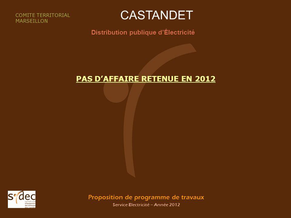 Proposition de programme de travaux Service Electricité – Année 2012 CASTANDET Distribution publique dÉlectricité COMITE TERRITORIAL MARSEILLON PAS DA