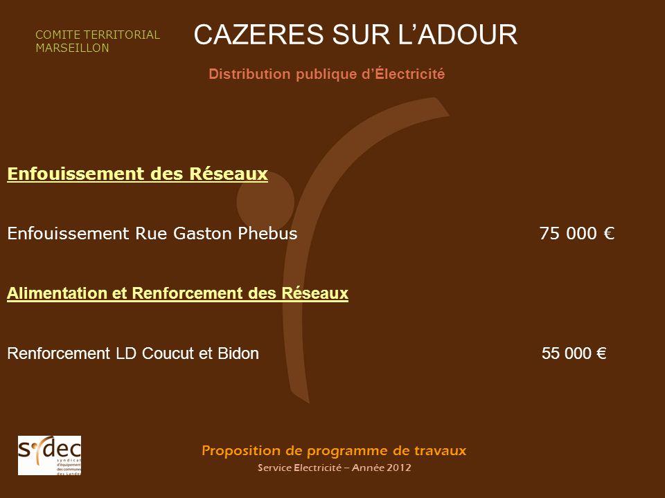 Proposition de programme de travaux Service Electricité – Année 2012 CAZERES SUR LADOUR Distribution publique dÉlectricité COMITE TERRITORIAL MARSEILL