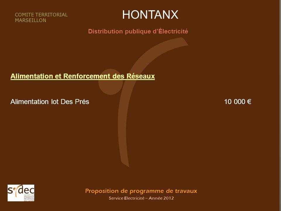 Proposition de programme de travaux Service Electricité – Année 2012 HONTANX Distribution publique dÉlectricité COMITE TERRITORIAL MARSEILLON Alimenta