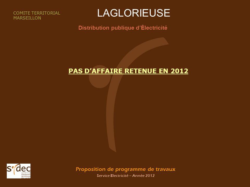 Proposition de programme de travaux Service Electricité – Année 2012 LAGLORIEUSE Distribution publique dÉlectricité COMITE TERRITORIAL MARSEILLON PAS
