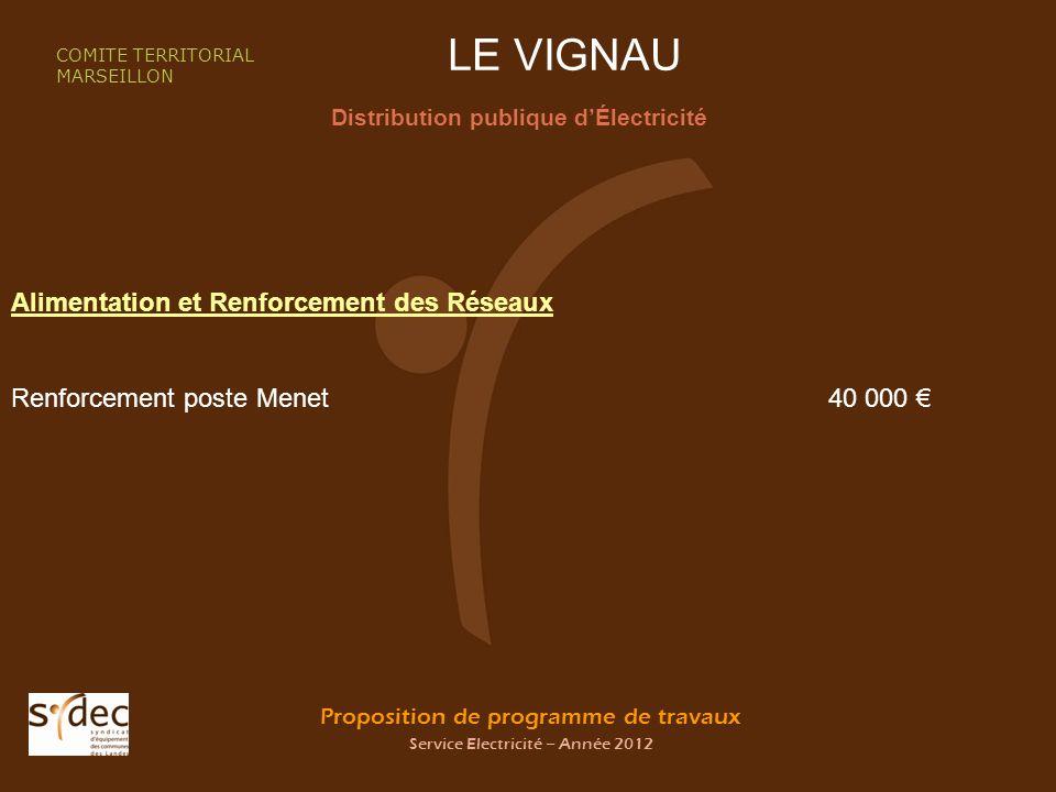 Proposition de programme de travaux Service Electricité – Année 2012 LE VIGNAU Distribution publique dÉlectricité COMITE TERRITORIAL MARSEILLON Alimen
