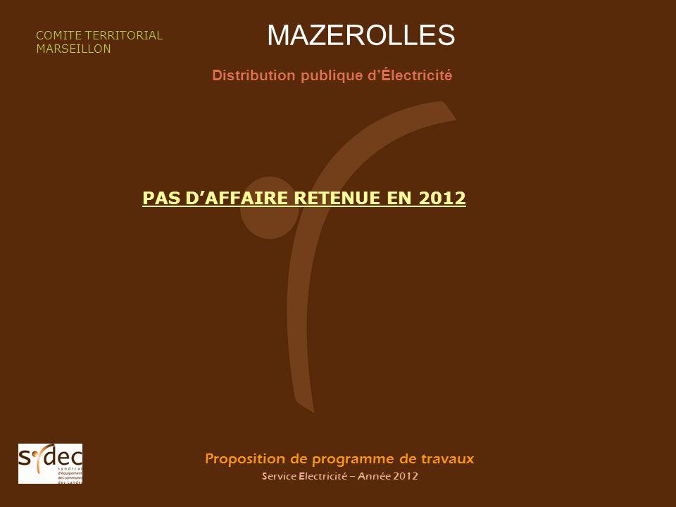 Proposition de programme de travaux Service Electricité – Année 2012 MAZEROLLES Distribution publique dÉlectricité COMITE TERRITORIAL MARSEILLON PAS D