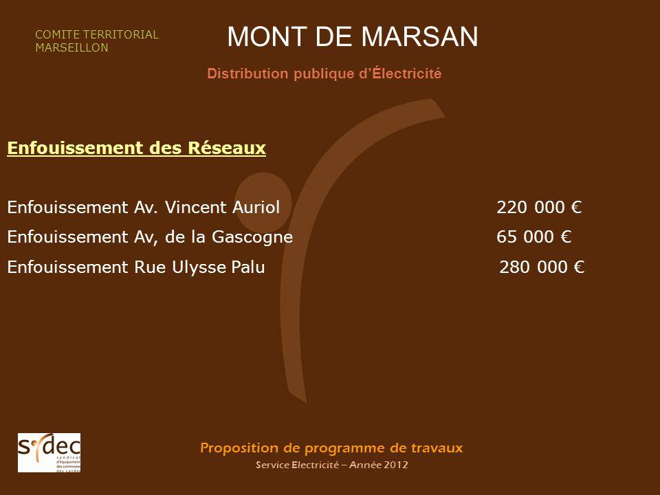 Proposition de programme de travaux Service Electricité – Année 2012 MONT DE MARSAN Distribution publique dÉlectricité COMITE TERRITORIAL MARSEILLON E