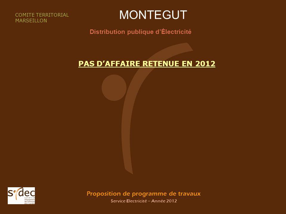 Proposition de programme de travaux Service Electricité – Année 2012 MONTEGUT Distribution publique dÉlectricité COMITE TERRITORIAL MARSEILLON PAS DAF
