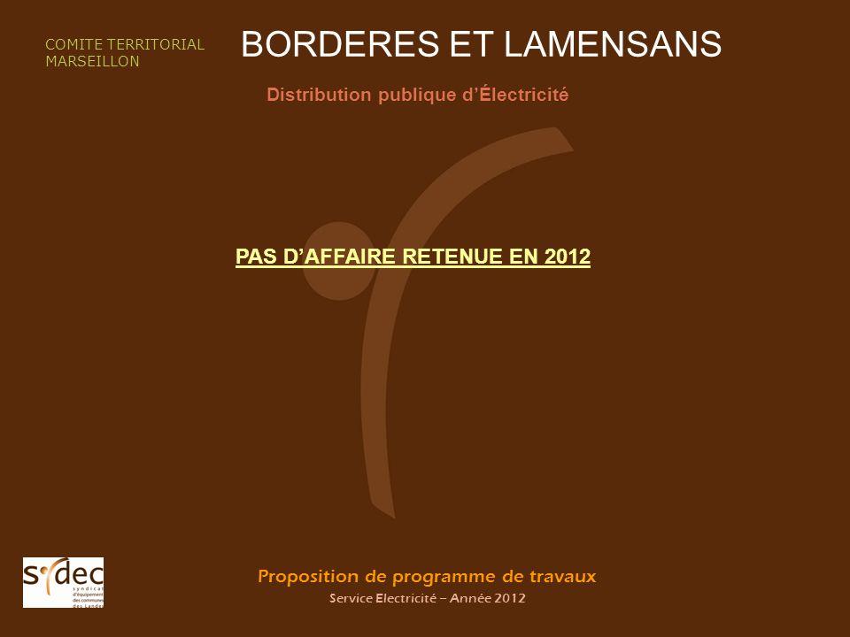 Proposition de programme de travaux Service Electricité – Année 2012 BORDERES ET LAMENSANS Distribution publique dÉlectricité COMITE TERRITORIAL MARSE