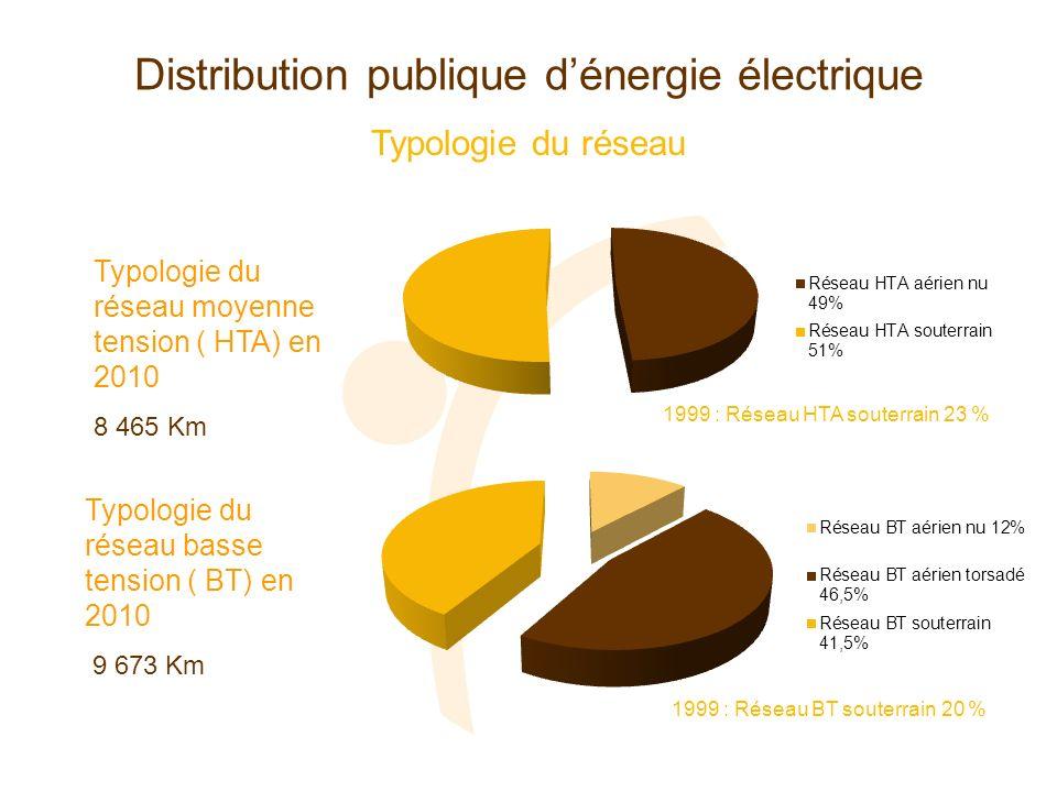 Distribution publique dénergie électrique Typologie du réseau Typologie du réseau moyenne tension ( HTA) en 2010 8 465 Km Typologie du réseau basse te