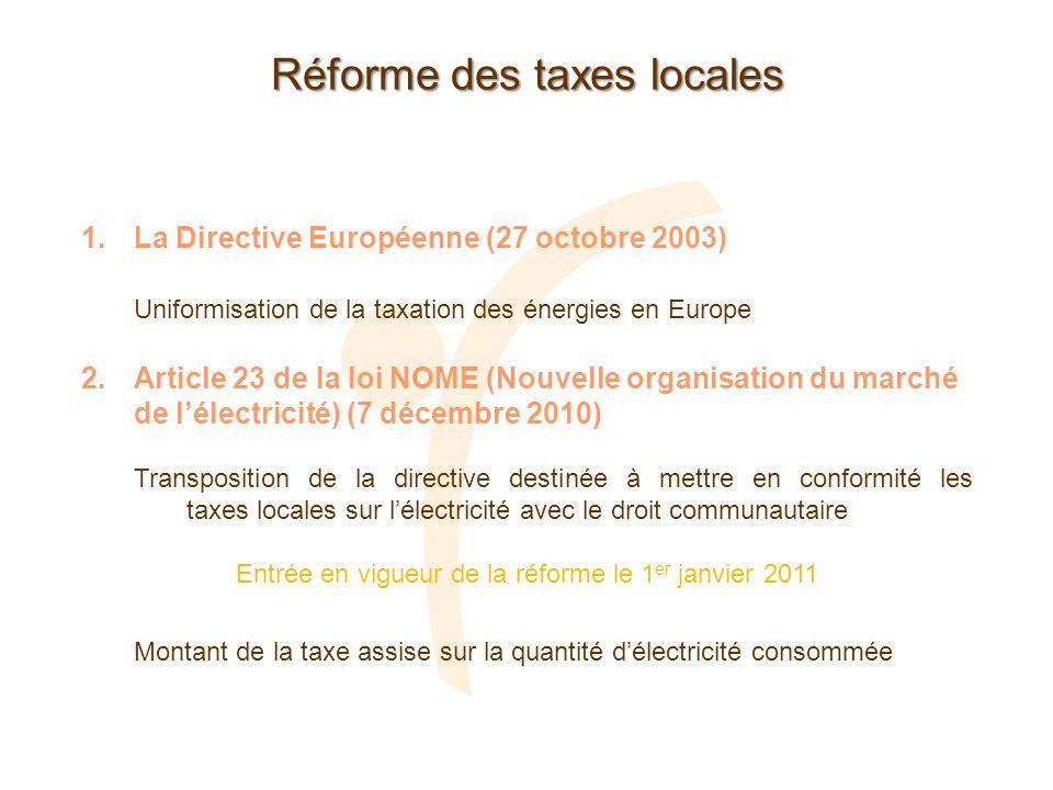 Réforme des taxes locales 1.La Directive Européenne (27 octobre 2003) Uniformisation de la taxation des énergies en Europe 2.Article 23 de la loi NOME