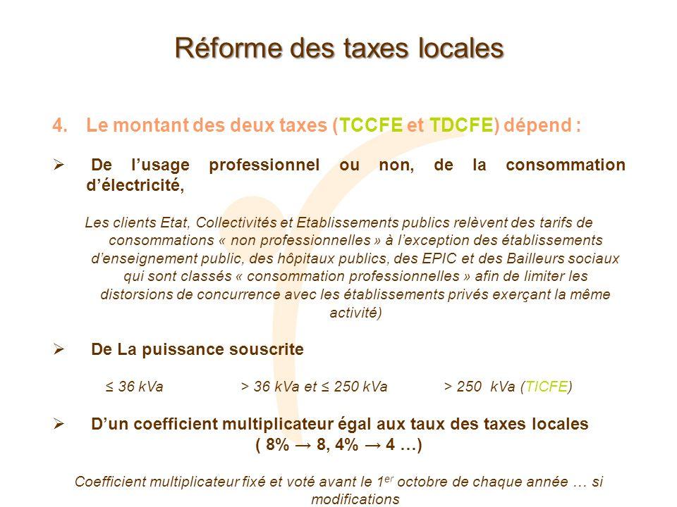 Réforme des taxes locales 4.Le montant des deux taxes (TCCFE et TDCFE) dépend : De lusage professionnel ou non, de la consommation délectricité, Les c