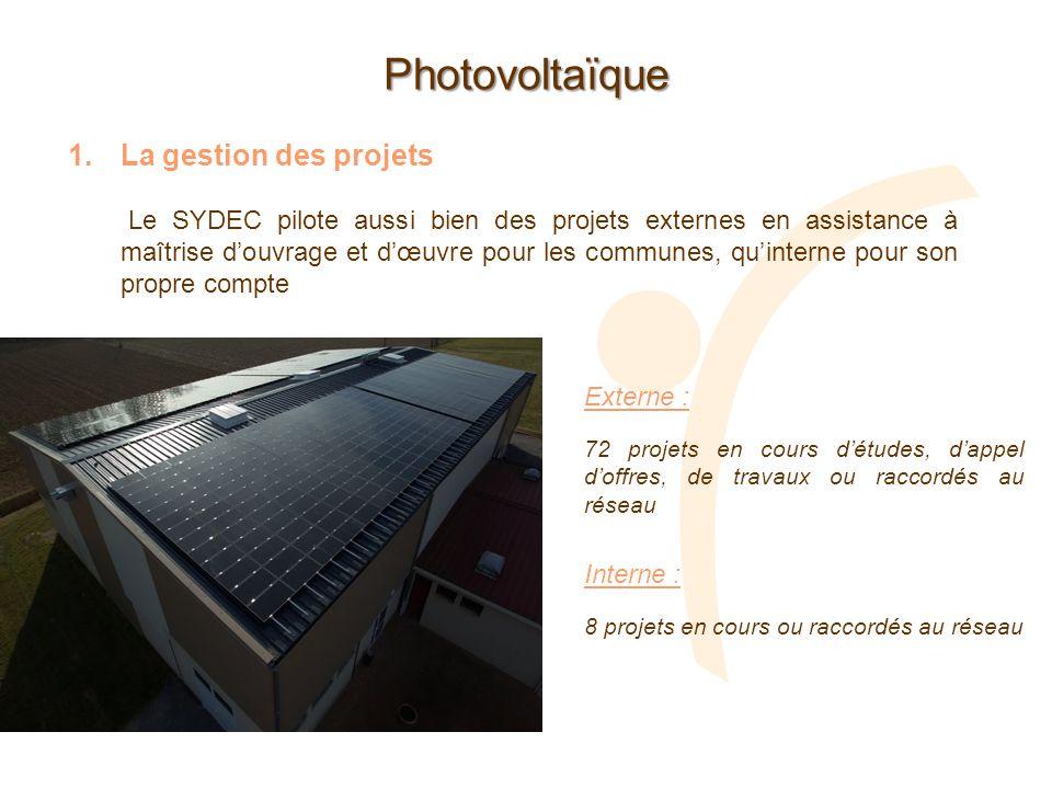 Photovoltaïque 1.La gestion des projets Le SYDEC pilote aussi bien des projets externes en assistance à maîtrise douvrage et dœuvre pour les communes,