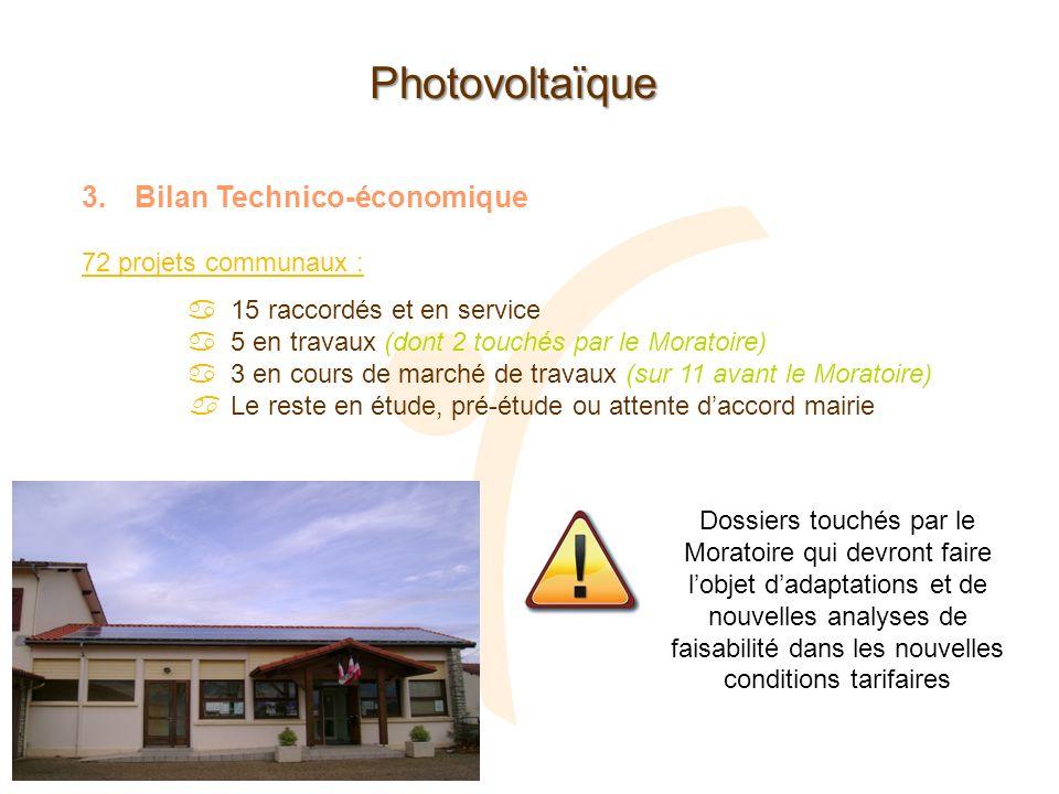 Photovoltaïque 3.Bilan Technico-économique 72 projets communaux : 15 raccordés et en service 5 en travaux (dont 2 touchés par le Moratoire) 3 en cours