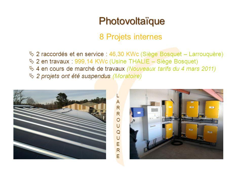 Photovoltaïque 2 raccordés et en service : 46,30 KWc (Siège Bosquet – Larrouquère) 2 en travaux : 999,14 KWc (Usine THALIE – Siège Bosquet) 4 en cours