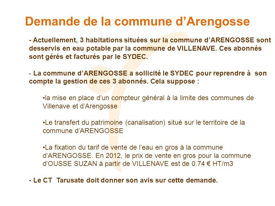 Demande de la commune dArengosse - Actuellement, 3 habitations situées sur la commune dARENGOSSE sont desservis en eau potable par la commune de VILLENAVE.