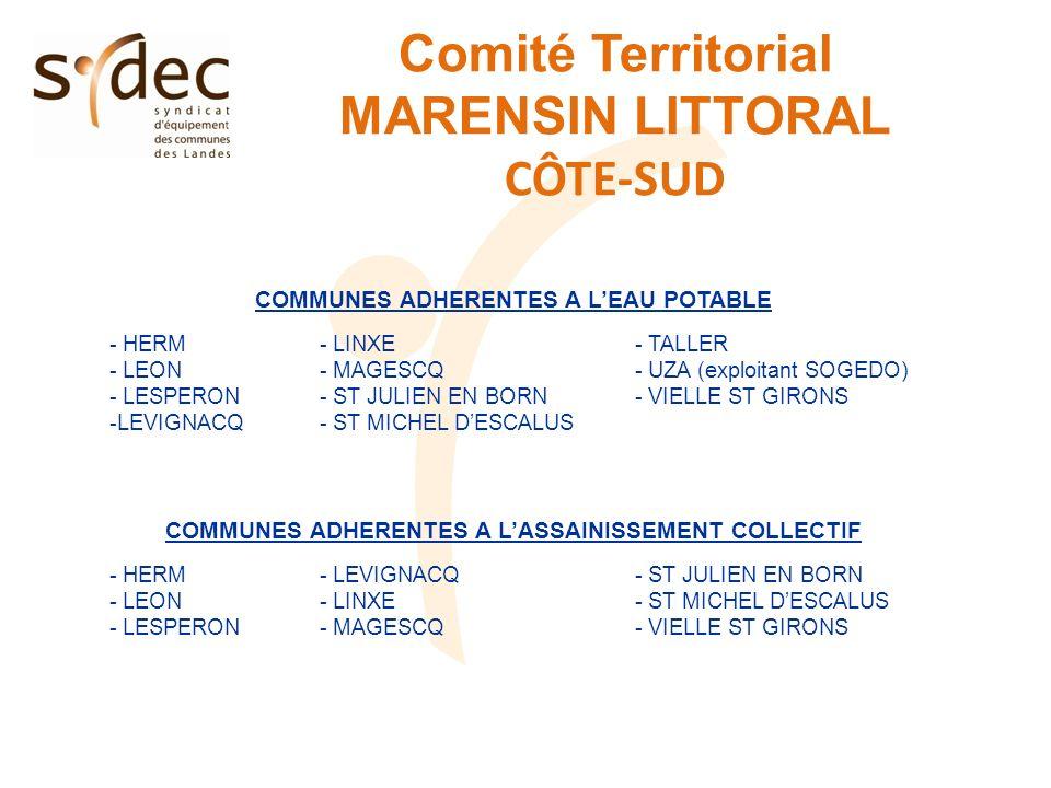 Comité Territorial MARENSIN LITTORAL CÔTE-SUD COMMUNES ADHERENTES A LEAU POTABLE - HERM- LINXE- TALLER - LEON- MAGESCQ- UZA (exploitant SOGEDO) - LESPERON- ST JULIEN EN BORN- VIELLE ST GIRONS -LEVIGNACQ- ST MICHEL DESCALUS COMMUNES ADHERENTES A LASSAINISSEMENT COLLECTIF - HERM- LEVIGNACQ- ST JULIEN EN BORN - LEON- LINXE- ST MICHEL DESCALUS - LESPERON- MAGESCQ- VIELLE ST GIRONS