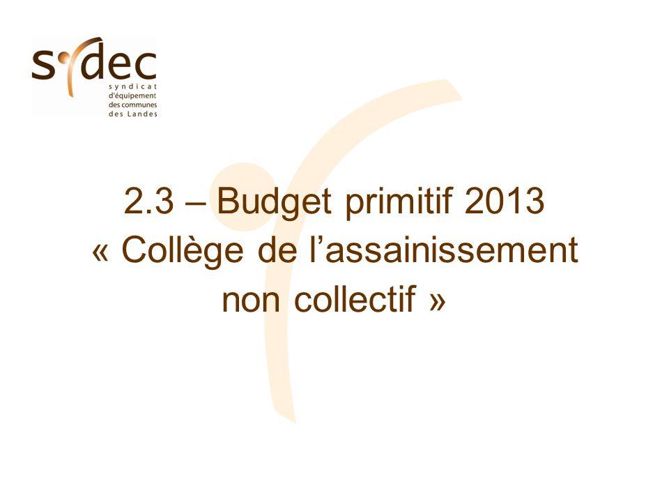 2.3 – Budget primitif 2013 « Collège de lassainissement non collectif »