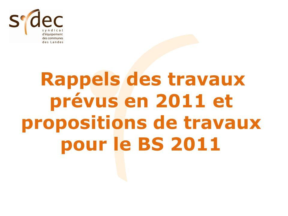 Rappels des travaux prévus en 2011 et propositions de travaux pour le BS 2011