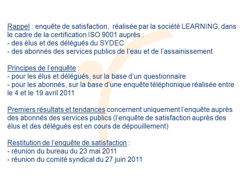 Rappel : enquête de satisfaction, réalisée par la société LEARNING, dans le cadre de la certification ISO 9001 auprès : - des élus et des délégués du