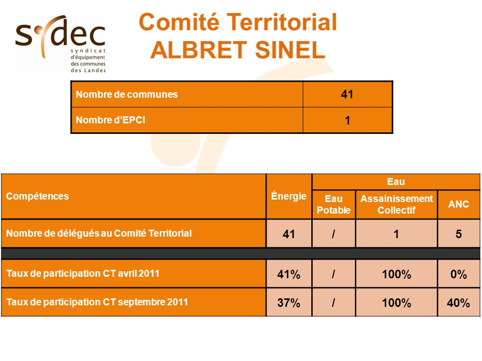 Comité Territorial ALBRET SINEL Nombre de communes 41 Nombre dEPCI 1 CompétencesÉnergie Eau Eau Potable Assainissement Collectif ANC Nombre de délégués au Comité Territorial 41/15 Taux de participation CT avril 2011 41%/100%0% Taux de participation CT septembre 2011 37%/100%40%