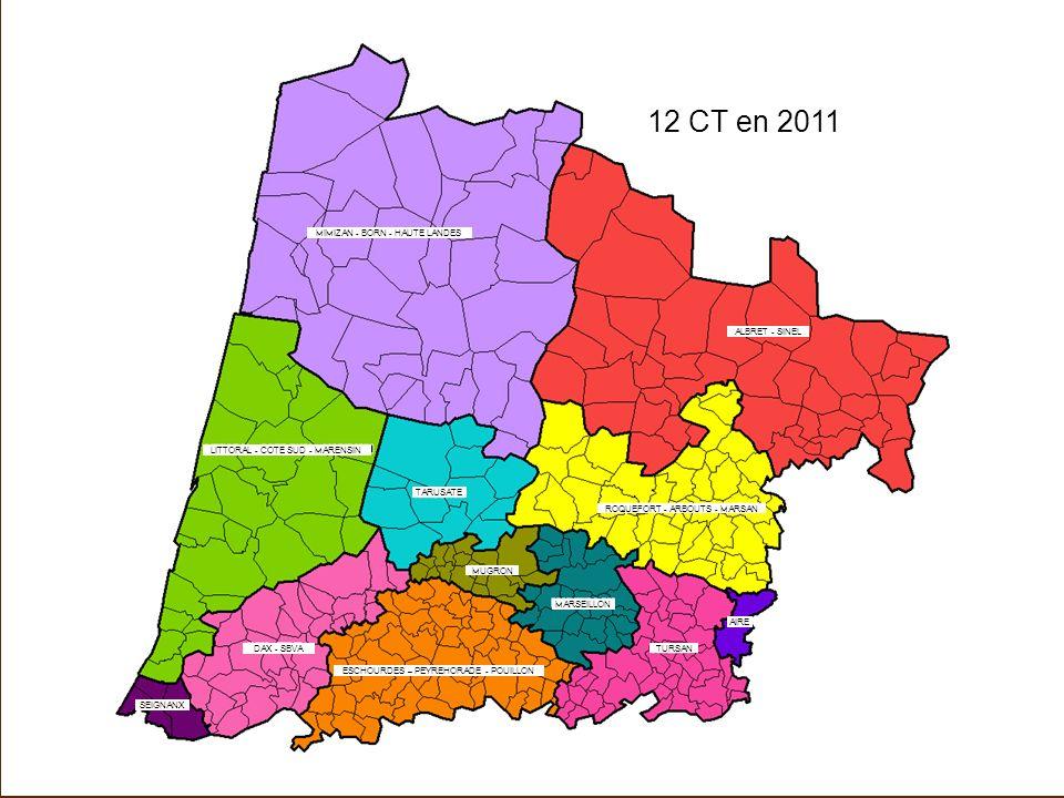 12 CT en 2011 MIMIZAN - BORN - HAUTE LANDES LITTORAL - COTE SUD - MARENSIN ALBRET - SINEL ROQUEFORT - ARBOUTS - MARSAN SEIGNANX DAX - SBVA ESCHOURDES