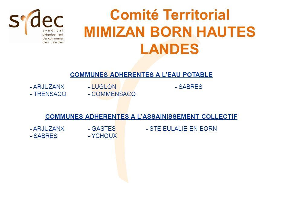 Comité Territorial MIMIZAN BORN HAUTES LANDES COMMUNES ADHERENTES A LEAU POTABLE - ARJUZANX- LUGLON- SABRES - TRENSACQ- COMMENSACQ COMMUNES ADHERENTES
