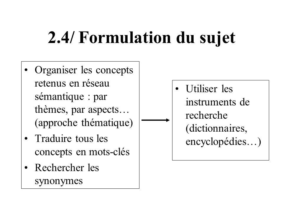 2.4/ Formulation du sujet Organiser les concepts retenus en réseau sémantique : par thèmes, par aspects… (approche thématique) Traduire tous les conce