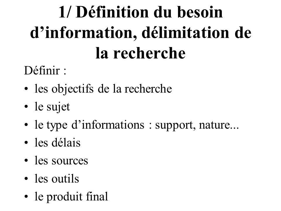1/ Définition du besoin dinformation, délimitation de la recherche Définir : les objectifs de la recherche le sujet le type dinformations : support, n