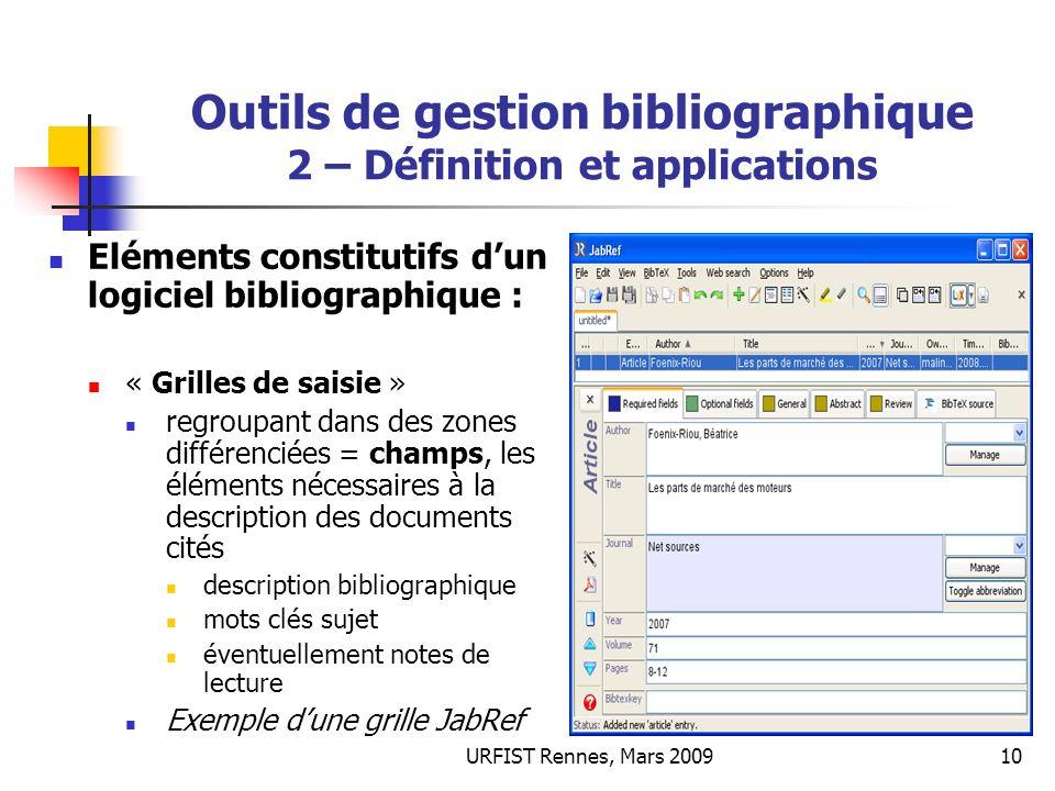 URFIST Rennes, Mars 200910 Outils de gestion bibliographique 2 – Définition et applications Eléments constitutifs dun logiciel bibliographique : « Gri