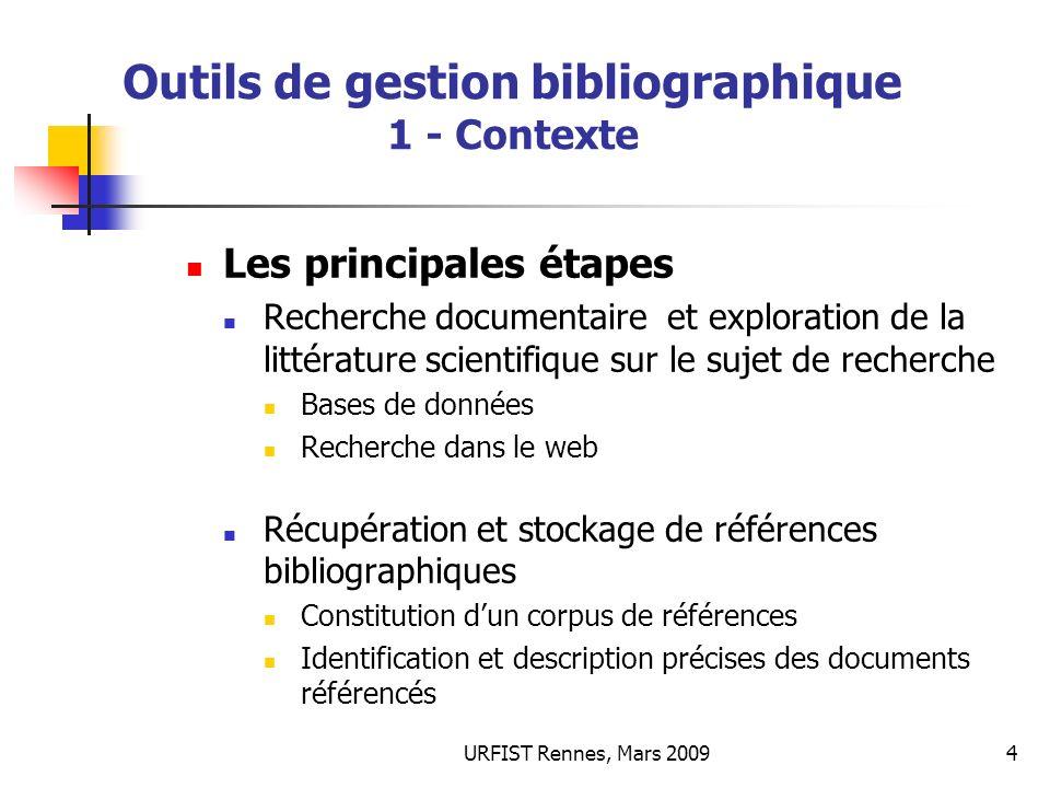 URFIST Rennes, Mars 20094 Outils de gestion bibliographique 1 - Contexte Les principales étapes Recherche documentaire et exploration de la littératur
