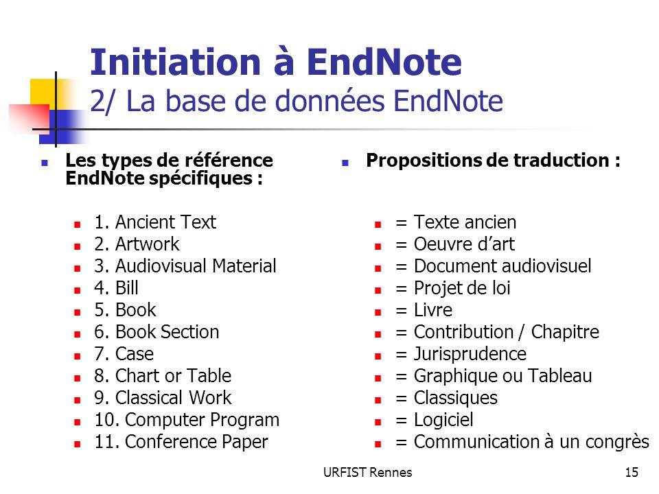 URFIST Rennes15 Initiation à EndNote 2/ La base de données EndNote Les types de référence EndNote spécifiques : 1. Ancient Text 2. Artwork 3. Audiovis