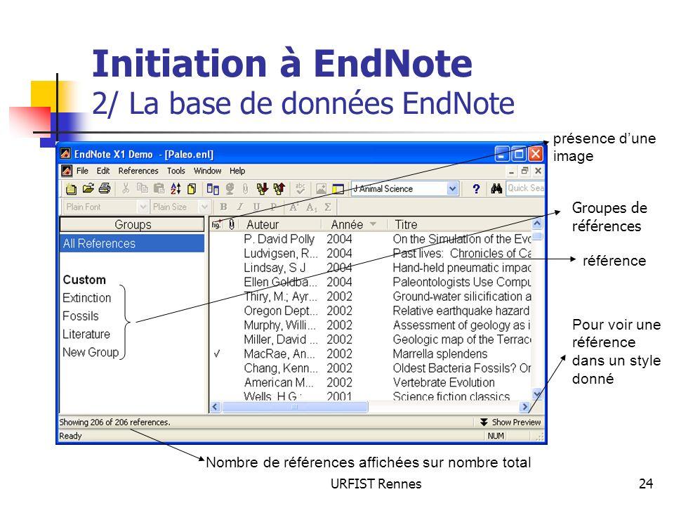 URFIST Rennes24 Initiation à EndNote 2/ La base de données EndNote présence dune image référence Pour voir une référence dans un style donné Nombre de