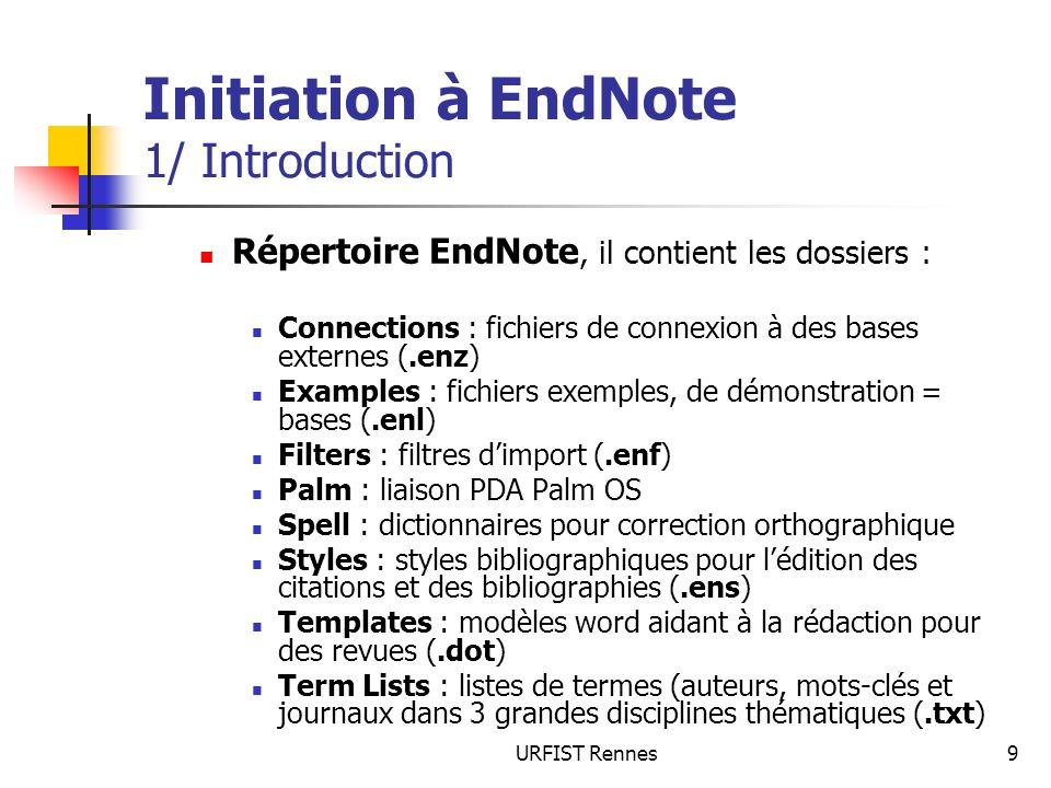 URFIST Rennes9 Initiation à EndNote 1/ Introduction Répertoire EndNote, il contient les dossiers : Connections : fichiers de connexion à des bases ext