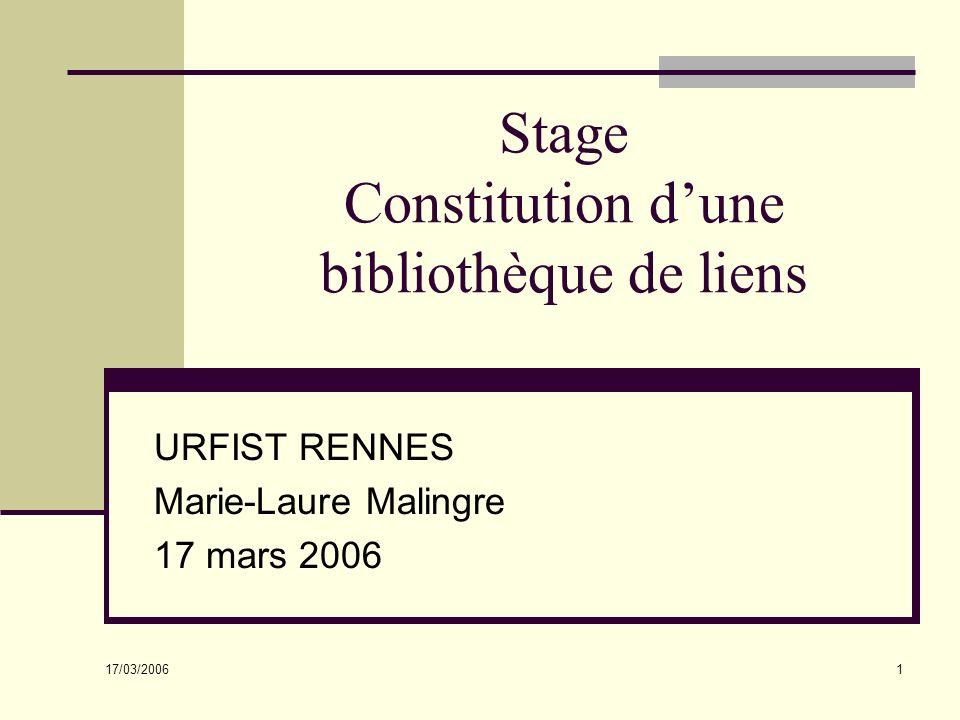 17/03/2006 1 Stage Constitution dune bibliothèque de liens URFIST RENNES Marie-Laure Malingre 17 mars 2006