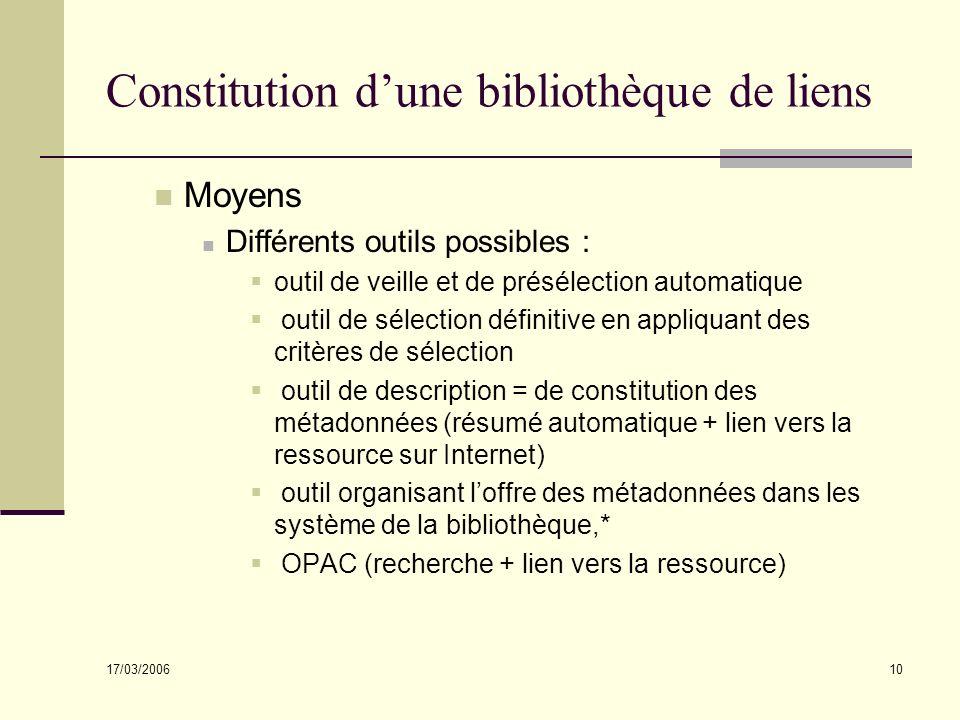 17/03/2006 10 Constitution dune bibliothèque de liens Moyens Différents outils possibles : outil de veille et de présélection automatique outil de sél