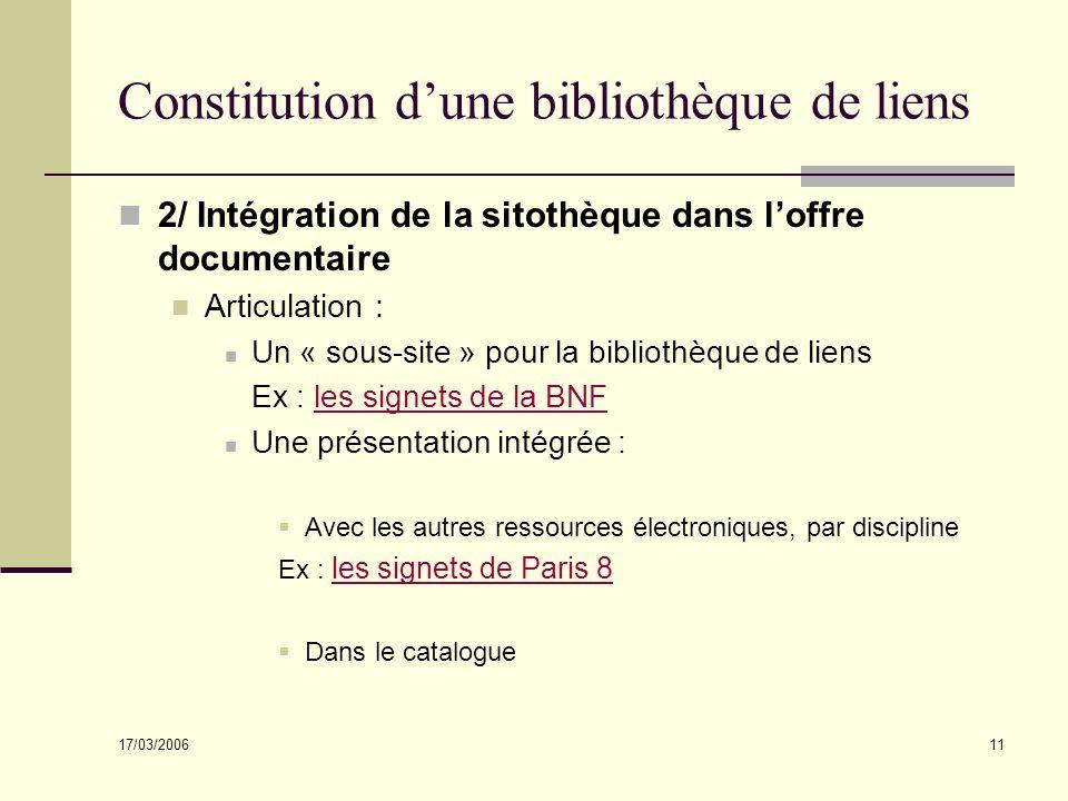 17/03/2006 11 Constitution dune bibliothèque de liens 2/ Intégration de la sitothèque dans loffre documentaire Articulation : Un « sous-site » pour la