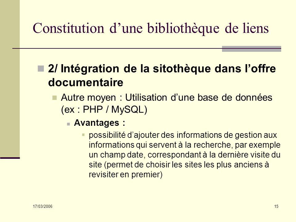 17/03/2006 15 Constitution dune bibliothèque de liens 2/ Intégration de la sitothèque dans loffre documentaire Autre moyen : Utilisation dune base de
