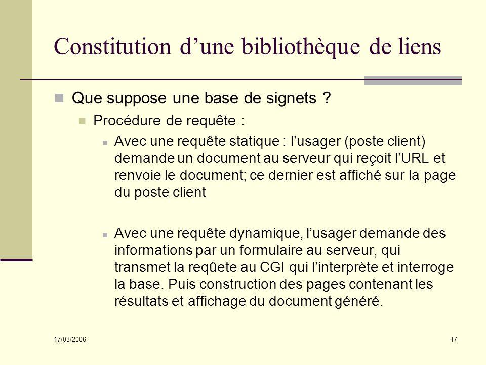 17/03/2006 17 Constitution dune bibliothèque de liens Que suppose une base de signets ? Procédure de requête : Avec une requête statique : lusager (po