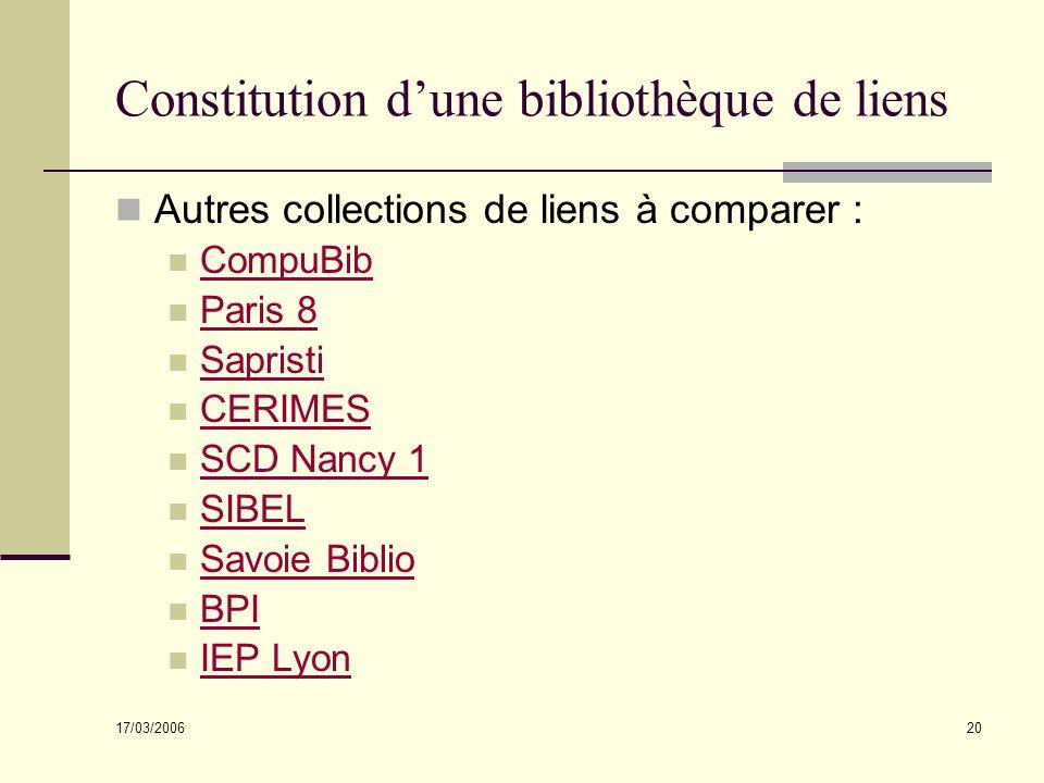 17/03/2006 20 Constitution dune bibliothèque de liens Autres collections de liens à comparer : CompuBib Paris 8 Sapristi CERIMES SCD Nancy 1 SIBEL Savoie Biblio BPI IEP Lyon