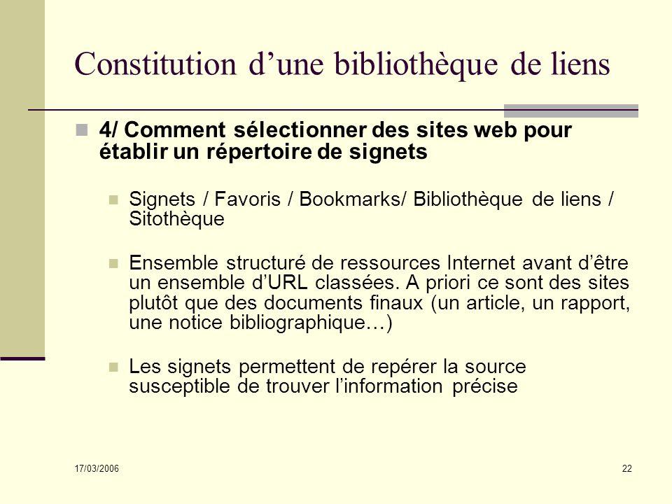 17/03/2006 22 Constitution dune bibliothèque de liens 4/ Comment sélectionner des sites web pour établir un répertoire de signets Signets / Favoris /
