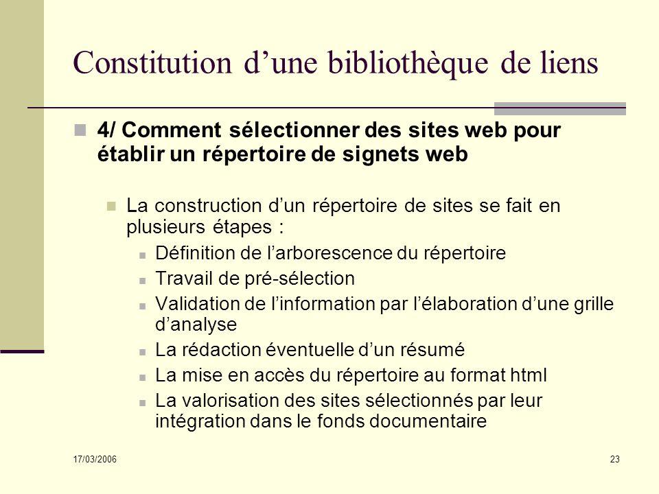 17/03/2006 23 Constitution dune bibliothèque de liens 4/ Comment sélectionner des sites web pour établir un répertoire de signets web La construction