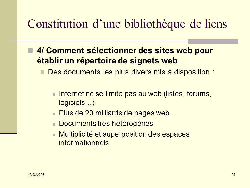 17/03/2006 25 Constitution dune bibliothèque de liens 4/ Comment sélectionner des sites web pour établir un répertoire de signets web Des documents le