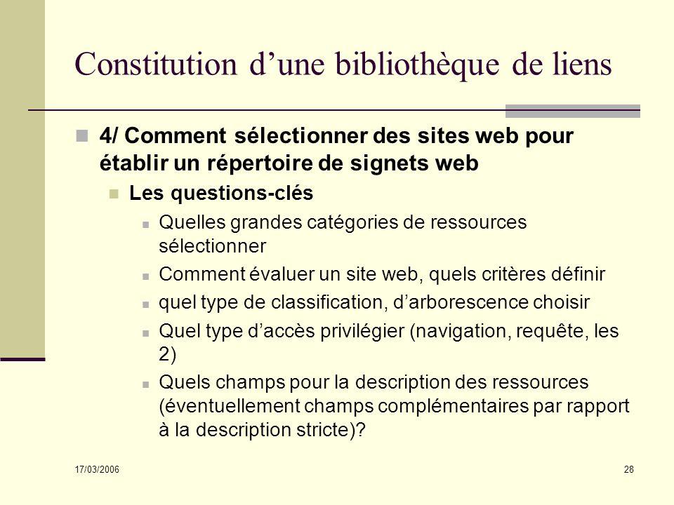 17/03/2006 28 Constitution dune bibliothèque de liens 4/ Comment sélectionner des sites web pour établir un répertoire de signets web Les questions-cl