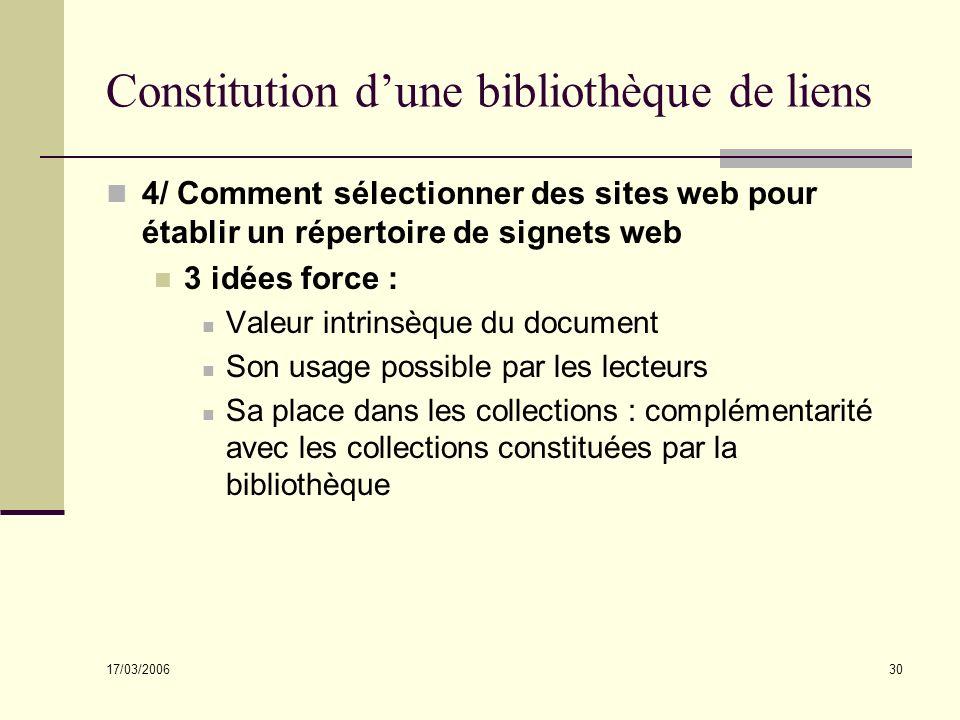 17/03/2006 30 Constitution dune bibliothèque de liens 4/ Comment sélectionner des sites web pour établir un répertoire de signets web 3 idées force :