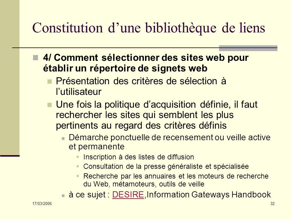 17/03/2006 32 Constitution dune bibliothèque de liens 4/ Comment sélectionner des sites web pour établir un répertoire de signets web Présentation des