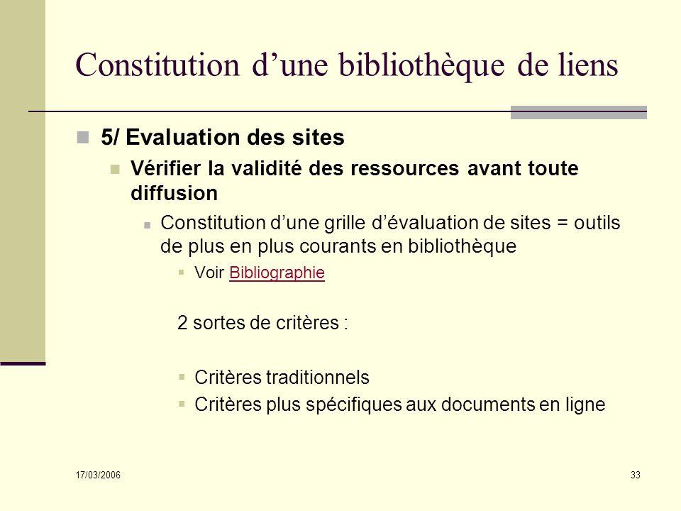 17/03/2006 33 Constitution dune bibliothèque de liens 5/ Evaluation des sites Vérifier la validité des ressources avant toute diffusion Constitution d
