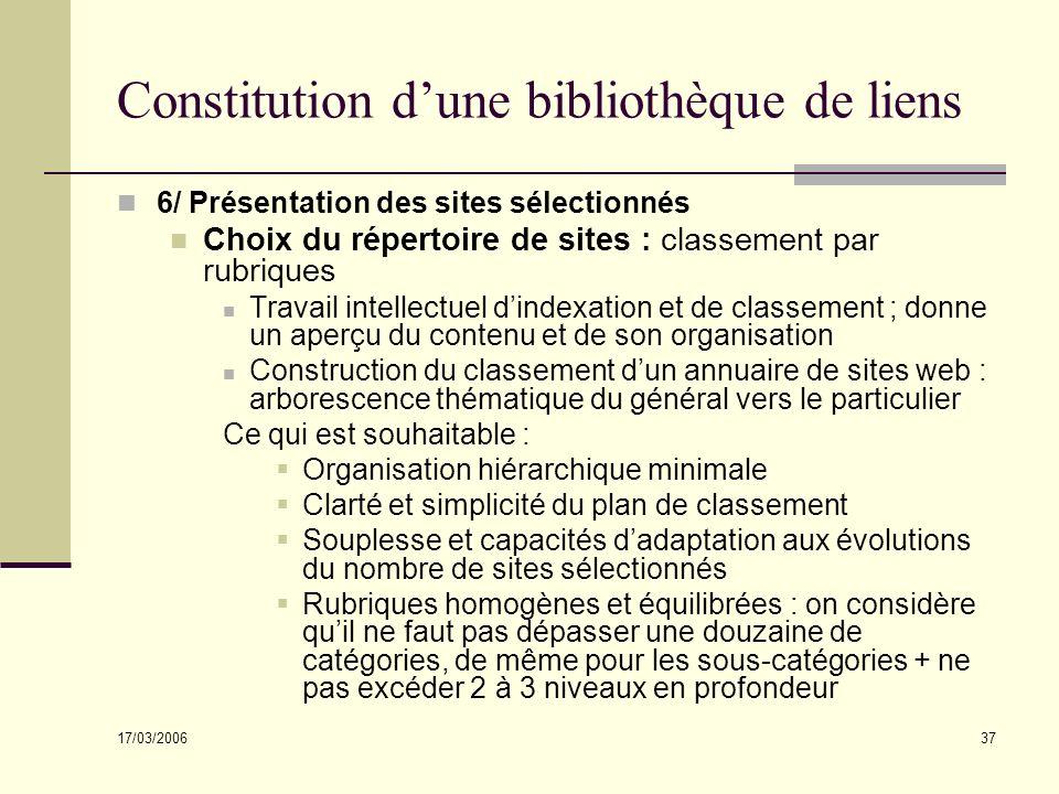 17/03/2006 37 Constitution dune bibliothèque de liens 6/ Présentation des sites sélectionnés Choix du répertoire de sites : classement par rubriques T