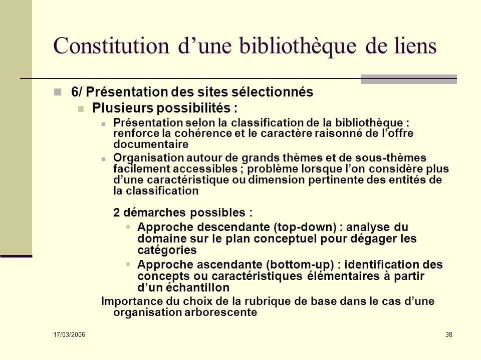 17/03/2006 38 Constitution dune bibliothèque de liens 6/ Présentation des sites sélectionnés Plusieurs possibilités : Présentation selon la classifica