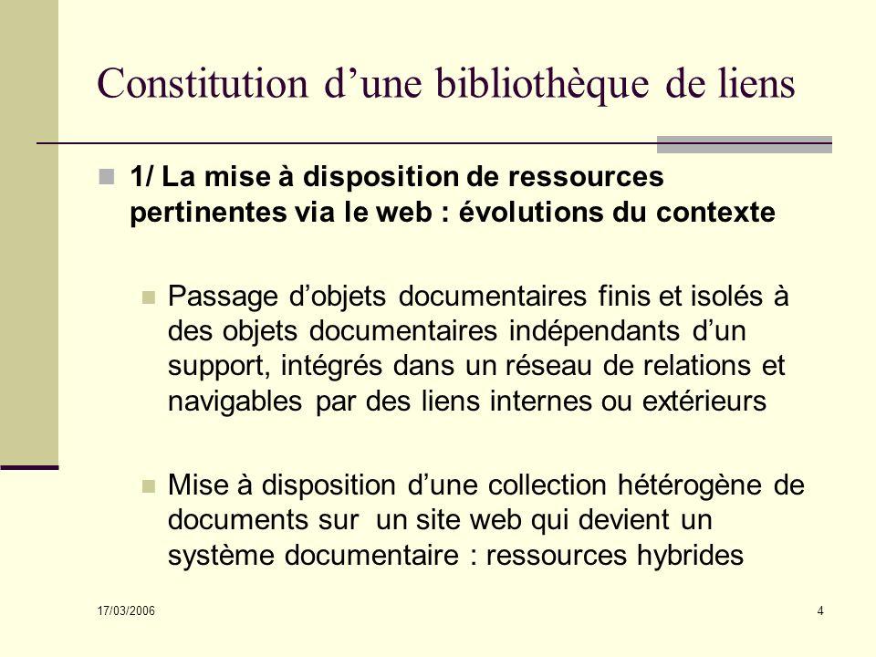 17/03/2006 4 Constitution dune bibliothèque de liens 1/ La mise à disposition de ressources pertinentes via le web : évolutions du contexte Passage do